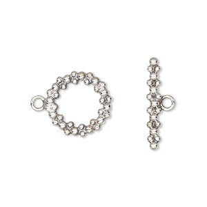 clasp, toggle, sterling silver, 14mm with round bubbles. sold individually.