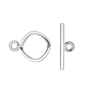 clasp, toggle, sterling silver, 15mm rounded diamond. sold individually.