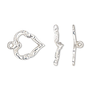 clasp, toggle, sterling silver, 16x15mm fancy heart. sold individually.
