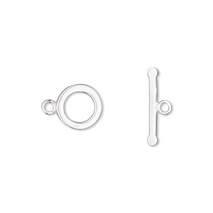 clasp, toggle, sterling silver, 9mm smooth round. sold per pkg of 2.