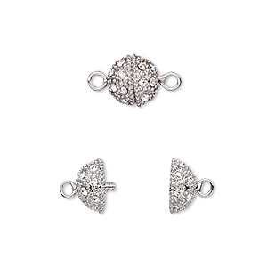 clasp, twist-in, crystal rhinestone and rhodium-plated brass, clear, 9mm textured round. sold individually.