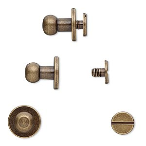 clasp, twist-in rivet, antique brass-plated brass, 11x10mm with 6mm round and 3mm shank. sold per pkg of (4) 2-piece sets.