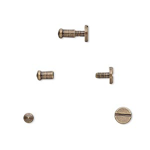 clasp, twist-in rivet, antique brass-plated brass, 7x5mm with 3mm round and 2mm shank. sold per pkg of (4) 2-piece sets.