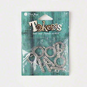 clasps, blue moon beads, toggle, antiqued silver-finished pewter (zinc-based alloy), 18mm round. sold per pkg of 5 clasps.