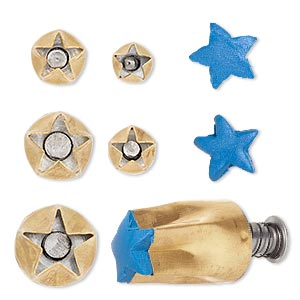 clay cutter, kemper, brass, 9mm-17mm assorted star with built in pop-out tool. sold per 5-piece set.