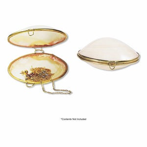 coin purse, pink shell (natural) and gold-finished pewter (zinc-based alloy), 2-1/2 x 1 to 3x1-1/2 inch hinged shell with wire closure, mohs hardness 3-1/2. sold individually.
