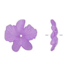component, acrylic, frosted violet, 23x5mm flower. sold per pkg of 100.
