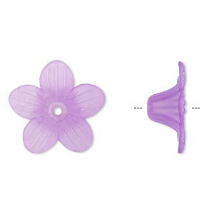 component, acrylic, frosted violet, 24x10mm flower. sold per pkg of 50.
