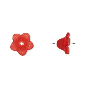 component, acrylic, translucent frosted red, 11x7mm flower. sold per pkg of 100.