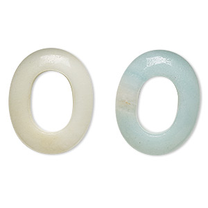 component, amazonite (natural), 25x20mm oval donut, c grade, mohs hardness 6 to 6-1/2. sold per pkg of 2.