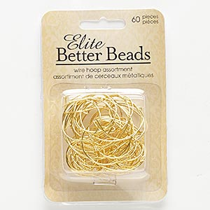 component and beading hoop mix, gold-finished pewter (zinc-based alloy), 20-32mm round, 21-22 gauge. sold per pkg of 60.