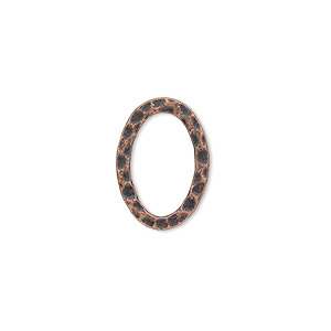 component, antique copper-plated steel, 18x13mm double-sided hammered open flat oval. sold per pkg of 12.