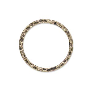 component, antique gold-plated steel, 25mm double-sided hammered flat round. sold per pkg of 10.