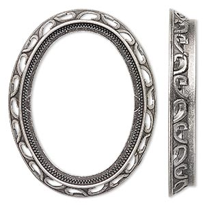 component, antique silver-plated brass, 48x38mm oval with swirl design and 40x30mm oval setting. sold per pkg of 4.