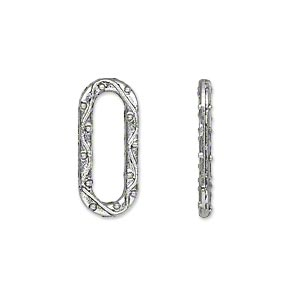 component, antique silver-plated pewter (zinc-based alloy), 20x9mm double-sided open oval with lines and dots. sold per pkg of 50.
