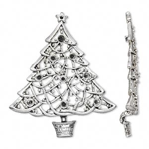 component, antique silver-plated pewter (zinc-based alloy), 59x50mm single-sided christmas tree with (1) pp8 and (9) pp32 settings. sold per pkg of 2.