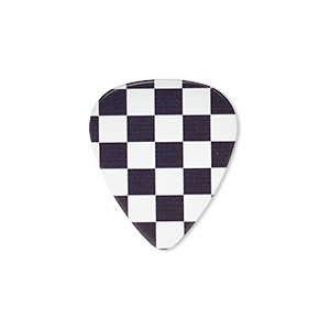 component, celluloid plastic, black and white, 30x26mm double-sided guitar pick with checkerboard design. sold per pkg of 2.