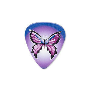 component, celluloid plastic, multicolored, 30x26mm double-sided guitar pick with butterfly design. sold per pkg of 2.