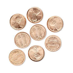 component, copper, 10mm american penny coin replica with 1964. sold per pkg of 8.
