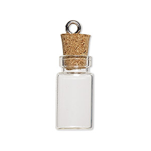 component, glass / cork / nickel-finished steel, clear, 22x11mm bottle with stopper and screw eye. sold per pkg of 100.