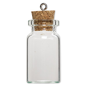 component, glass / cork / nickel-finished steel, clear, 40x22mm bottle with stopper and screw eye. sold per pkg of 100.