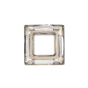 component, glass, coffee, foil back, 20x20mm faceted open square. sold individually.