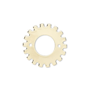 component, gold-finished steel, 21mm gear with 12-14mm rivoli setting and 2 holes, 9.5mm center hole. sold per pkg of 6.