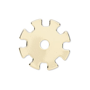 component, gold-finished steel, 25mm gear with 4mm center hole. sold per pkg of 6.
