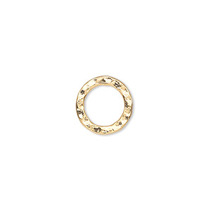 component, gold-plated steel, 12mm double-sided hammered flat open round. sold per pkg of 12.