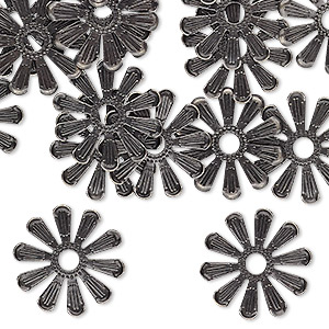 component, gunmetal-finished brass, 16x16mm single-sided flower with 2.5mm inside diameter. sold per pkg of 20.