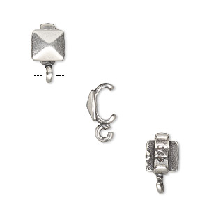 component, jbb findings, antique silver-plated brass, 6x6mm faceted square with open loop, 5.5x2mm inside diameter. sold per pkg of 2.