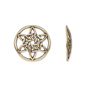 component, jbb findings, antiqued brass, 18.5mm convex round with celtic star design. sold individually.
