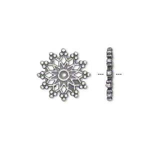component, jbb findings, antiqued silver-plated pewter (tin-based alloy), 15mm double-sided cutout filigree round with dots and center hole. sold per pkg of 4.