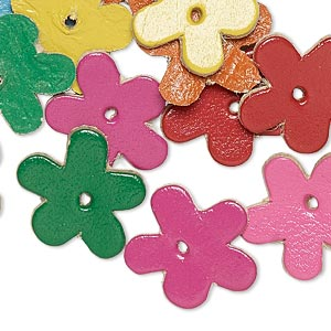 component, leather (dyed), assorted colors, 17x16mm flower. sold per pkg of 16.