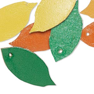 component, leather (dyed), assorted colors, 31x14mm leaf. sold per pkg of 8.