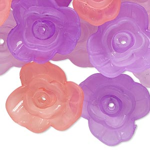 component mix, acrylic, translucent frosted violet / pink / light purple, 21x8mm flower. sold per pkg of 30.