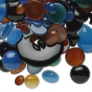 component mix, agate (natural / dyed / heated), 8x6mm-38x25mm undrilled mixed shape. sold per 1/2 pound pkg, approximately 150 components.