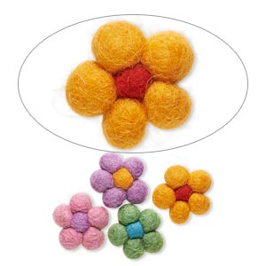 component mix, felt, mixed colors, 27x25mm undrilled flower. sold per pkg of 4.