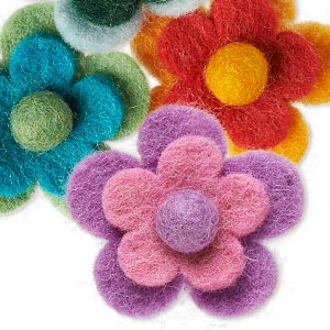 component mix, felt, mixed colors, 48x15mm undrilled flower. sold per pkg of 4.