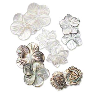 component mix, mother-of-pearl shell and black lip shell (natural), 13x12mm-20mm carved flower, mohs hardness 3-1/2. sold per pkg of 5 pairs.