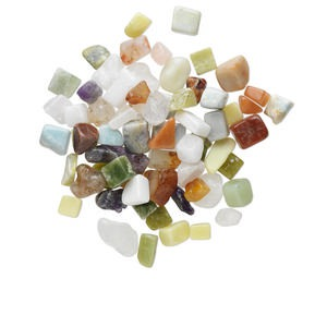 component mix, multi-gemstone (natural / dyed / heated), small to large undrilled nugget. sold per 1-pound pkg, approximately 50-80 components.