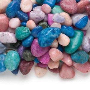 component mix, quartz (dyed), multicolored, small to large undrilled tumbled nugget, mohs hardness 7. sold per 10-pound pkg, approximately 400 to 450 components.