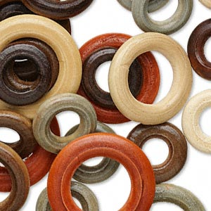 component mix, wood (dyed), mixed colors, 21-33mm ring. sold per pkg of 50.