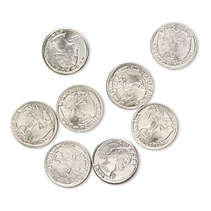 component, nickel steel, 10mm american quarter coin replica with 1978. sold per pkg of 8.