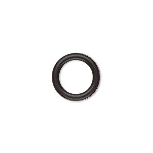 component, oh! ring™, silicone, black, 15mm round with 10mm hole. sold per pkg of 100.
