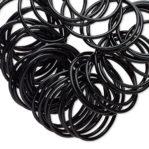component, oh! ring™, silicone, black, 25mm round. sold per pkg of 50.