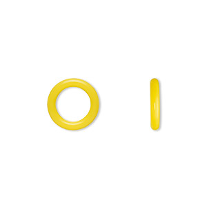component, oh! ring™, silicone, daffodil yellow, 12mm round with 8mm hole. sold per pkg of 200.