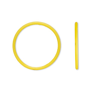 component, oh! ring™, silicone, daffodil yellow, 25mm round with 22mm hole. sold per pkg of 50.