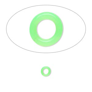 component, oh! ring™, silicone, neon green, 5mm round with 2.5mm hole. sold per pkg of 500.