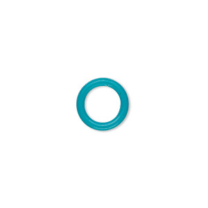 component, oh! ring™, silicone, turquoise blue, 12mm round with 8mm hole. sold per pkg of 200.
